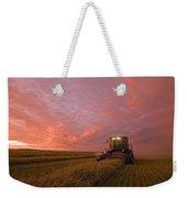 Farmer Harvesting Oat Crop Weekender Tote Bag