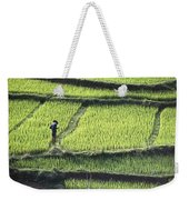 Farmer In Rice Paddy, Elevated View Weekender Tote Bag