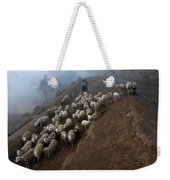 farmers bring their sheep to graze. Republic of Bolivia. Weekender Tote Bag
