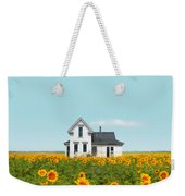 Farmhouse In A Field Of Sunflowers Weekender Tote Bag