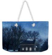 Farmhouse Under Full Moon In Winter Weekender Tote Bag