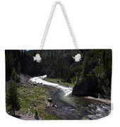 Fast Rapids On Firehole River Yellowstone  Weekender Tote Bag
