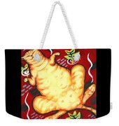 Fat Cat On A Cushion - Orange Cat Weekender Tote Bag