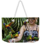Feeding Rainbow Lorikeets Weekender Tote Bag