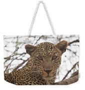 Female Leopard Close-up Weekender Tote Bag