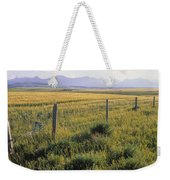 Fence And Barley Crop, Near Waterton Weekender Tote Bag