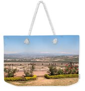 Fence And Garden Overlooking A Beautiful Vista Of Valley And Snow-capped Mountains Weekender Tote Bag