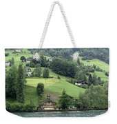 Few Houses On The Slope Of Mountain Next To Lake Lucerne Weekender Tote Bag