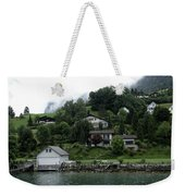Few Houses On The Slope Of Mountain Next To Lake Lucerne In Switzerland Weekender Tote Bag