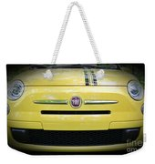 Fiat 500 Yellow With Racing Stripe Weekender Tote Bag