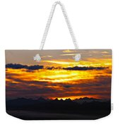 Fiery Sunrise Over The Cascade Mountains Weekender Tote Bag