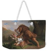 Fight Of A Lion With A Tige Weekender Tote Bag