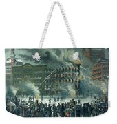 Fire In The New York World Building Weekender Tote Bag by American School