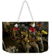 Firemen Combat A Simulated Fire Aboard Weekender Tote Bag