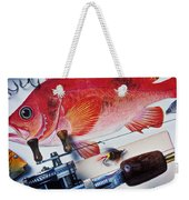Fish Bookplates And Tackle Weekender Tote Bag by Garry Gay
