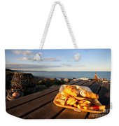 Fish 'n' Chips By The Beach Weekender Tote Bag by Rob Hawkins