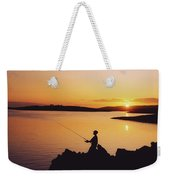 Fishing At Sunset, Roaring Water Bay Weekender Tote Bag