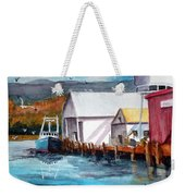 Fishing Boat And Dock Watercolor Weekender Tote Bag
