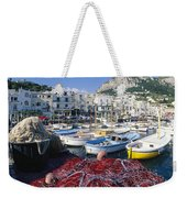 Fishing Boats And Nets In The Marina Weekender Tote Bag