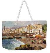 Fishing Boats On The Beach At Marinella Naples Weekender Tote Bag