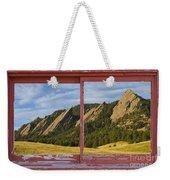 Flatirons Boulder Colorado Red Barn Picture Window Frame Photos  Weekender Tote Bag