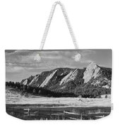 Flatirons From Chautauqua Park Bw Weekender Tote Bag