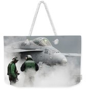 Flight Deck Personnel Are Surrounded Weekender Tote Bag by Stocktrek Images