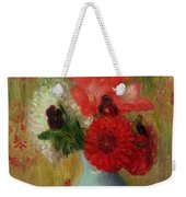 Floral Arrangement In Green Vase Weekender Tote Bag