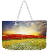 Floral Field On Sunset Weekender Tote Bag by Setsiri Silapasuwanchai