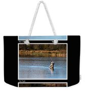 Fly Fishing Triptych Black Background Weekender Tote Bag