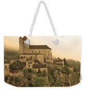 Fog Descending On St Cirq Lapopie In Sepia Weekender Tote Bag