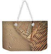 Footprints On The Beach Along A Fence Weekender Tote Bag