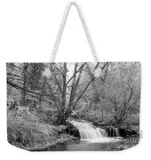 Forest Creek Waterfall In Black And White Weekender Tote Bag