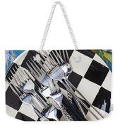 Forks On Checker Plate Weekender Tote Bag