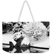 Fresh Snow And Reflections In A Japanese Garden 1 Weekender Tote Bag