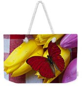Fresh Tulips And Red Butterfly Weekender Tote Bag by Garry Gay