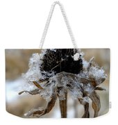 Frost And Snow On Dead Daisy Weekender Tote Bag
