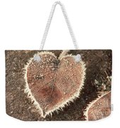 Frosted Fall Leaves Weekender Tote Bag