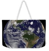 Full Earth Showing Two Tropical Storms Weekender Tote Bag