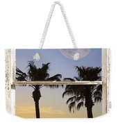 Full Moon Palm Tree Picture Window Sunset Weekender Tote Bag
