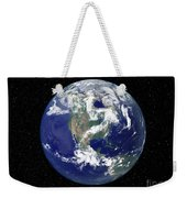 Fully Lit Earth Centered On North Weekender Tote Bag