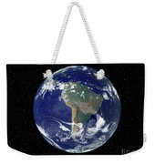 Fully Lit Earth Centered On South Weekender Tote Bag by Stocktrek Images