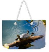 Funny Turtle Catching Some Rays Weekender Tote Bag