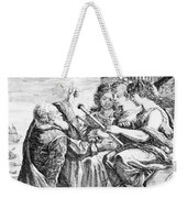 Galileo With Telescope Pointing To Sky Weekender Tote Bag