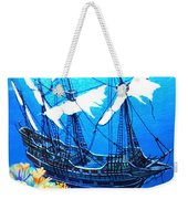 Galleon On The Cliff Filtered Weekender Tote Bag