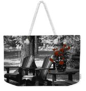 Garden Chairs With Red Flowers In A Pot Weekender Tote Bag