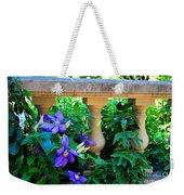 Garden Wall With Periwinkle Flowers Weekender Tote Bag