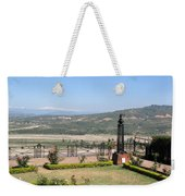 Garden With Some Beautiful Roses Overlooking A Valley With Snow Capped Mountains In The Background Weekender Tote Bag