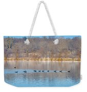 Geese In The Schuylkill River Weekender Tote Bag