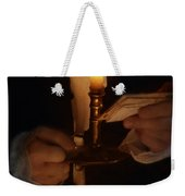 Gentleman In Vintage Clothing With Candlestick And Letters Weekender Tote Bag